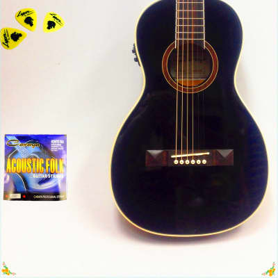 Caraya Parlor-590 Guitar w/Built-in EQ,Black+Free gig bag,Extra String Set,Picks for sale