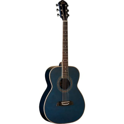 Oscar Schmidt OF2TBL Folk Acoustic Guitar, Trans Blue for sale