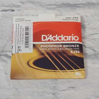 D'Addario Phosphor Bronze 12 String Medium Gauge 12-52 Acoustic Guitar Strings