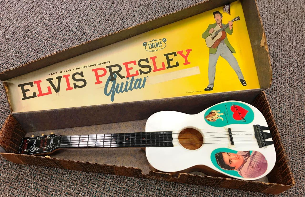 Emenee Elvis Toy Guitar 1956 Brown Reverb