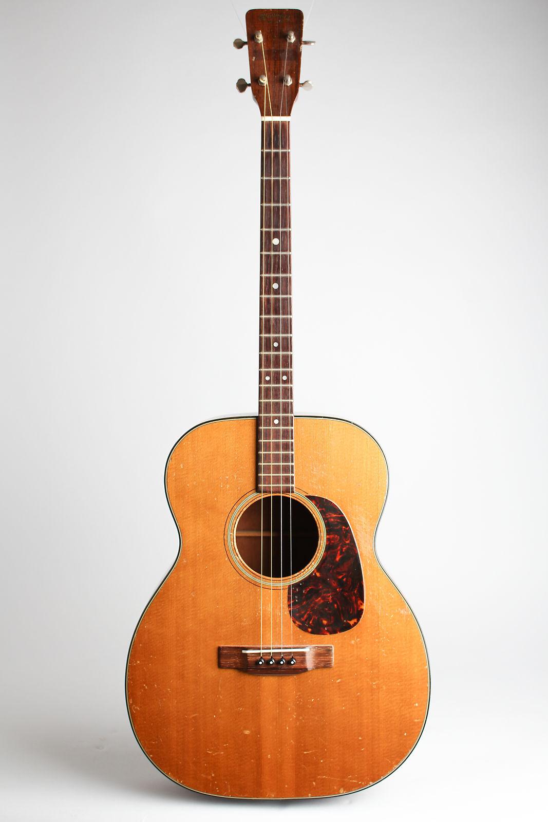 C. F. Martin  0-18T Flat Top Tenor Guitar (1962), ser. #181614, black chipboard case.