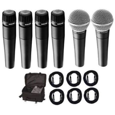 Shure SM57 and SM58 Microphone Package, 4xSM57, 2xSM58, CBI Cables and On-Stage Bag
