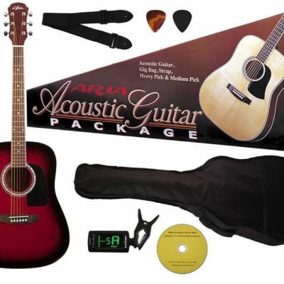 Aria Prodigy Series Acoustic Guitar Package in Red Sunburst for sale