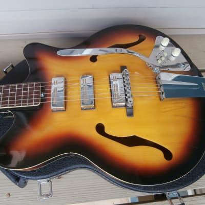 Vintage 1960's Kent (Guyatone) 561 Americana Hollowbody Electric Guitar w/ Epiphone Case! Japan! for sale