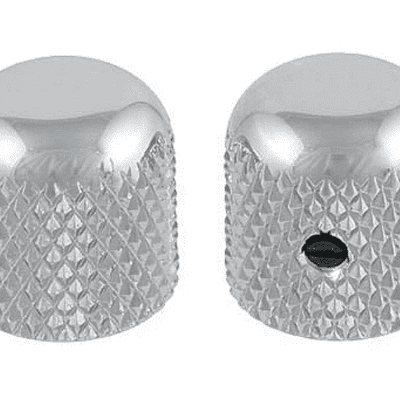 """2 Allparts Chrome Dome Knobs With Set Screw For guitar and Bass Fits USA 1/4"""" Solid Shaft Pots!"""