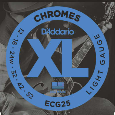 D'Addario ECG25 XL Chromes Flatwound Electric Guitar Strings, Light Gauge Standard