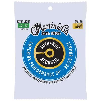 Martin Strings MA180 80/20 Bronze Acoustic Guitar Strings 12 String Light 10-47 for sale