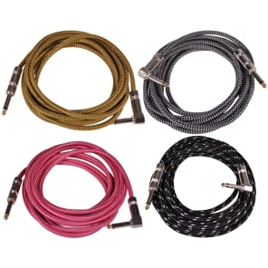 """Seismic Audio SAGCR-12-VAR Straight to Right-Angle 1/4"""" TS Woven Cloth Guitar/Instrument Cables - 12' (4-Pack)"""
