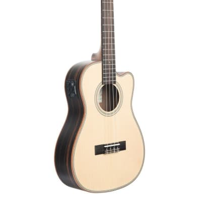NEW KALA KA-SSEBY-B-CE UKE SOLID SPRUCE TOP STRIPED EBONY BARITONE CUTAWAY W/EQ for sale