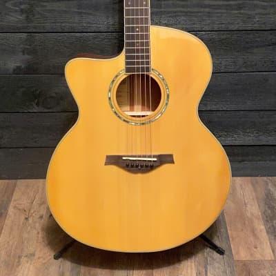 Wood Song Left Handed Jumbo Natural JC Acoustic Guitar w/ Gig Bag