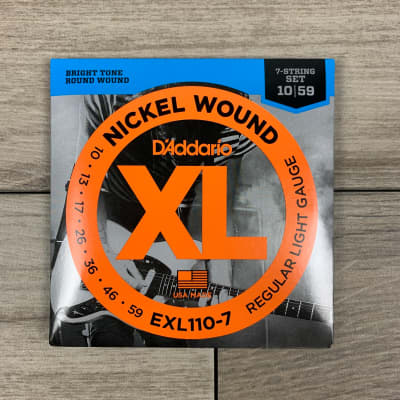 D'Addario EXL110-7 Nickel Wound Electric Guitar Strings, 10-59, Regular Light 7-String