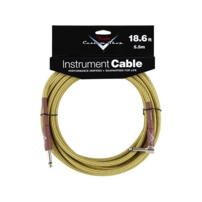 Fender Custom Shop Performance Series Instrument Cable Tweed 18.6ft Angle for sale