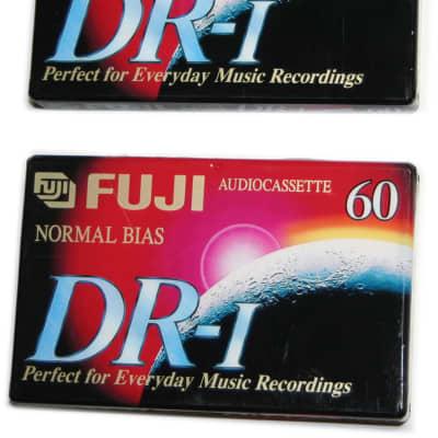 Fuji DR-I 60 Minute Normal Bias Type I Audio Cassette Tapes Extra Slim Case - NOS Sealed - 2 Pack