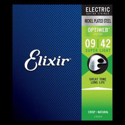 Elixir 19002 Nickel Plated Steel OPTIWEB Super Light Electric Strings .009-.042