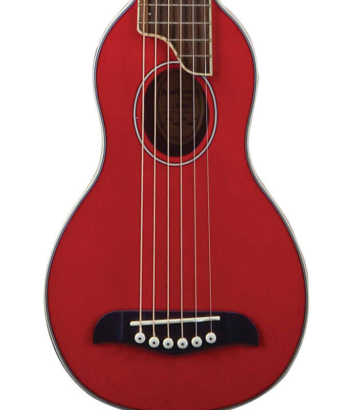 Washburn Rover 10STRK Solid Spruce / Mahogany Travel Acoustic Guitar Trans Red