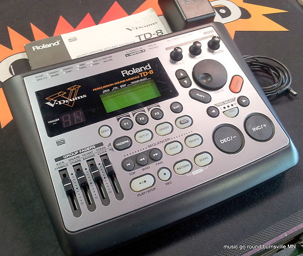 Roland TD-8 Electronic drum module with power supply and owners manual