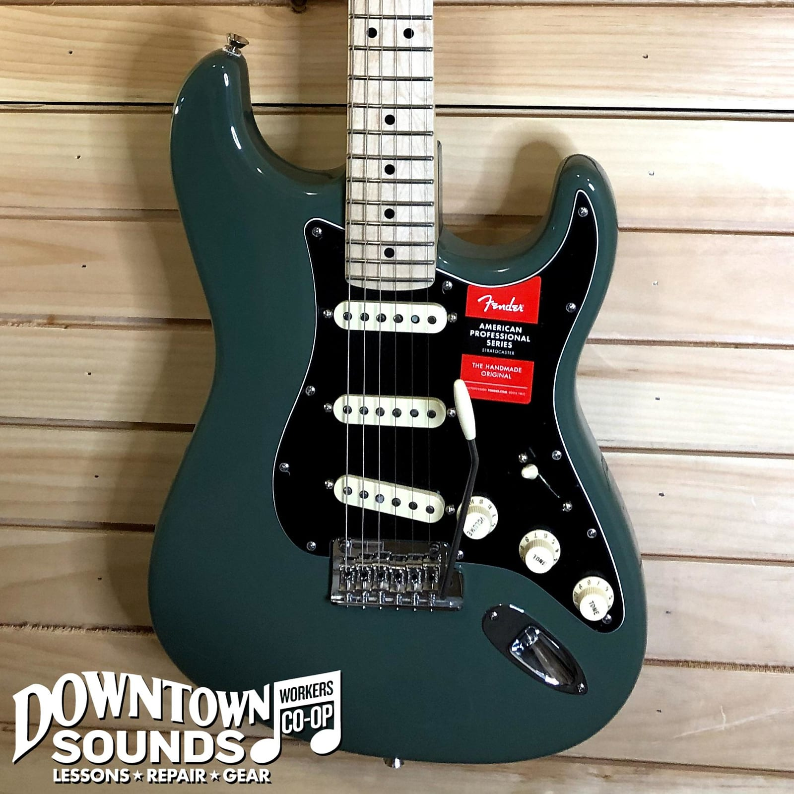 Fender American Professional Stratocaster, Antique Olive, Maple Fretboard, with Hardshell Case