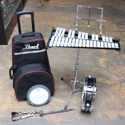 Pearl Student Bell Kit/Snare Drum w/Stand, Practice Pad, and Rolling Bag