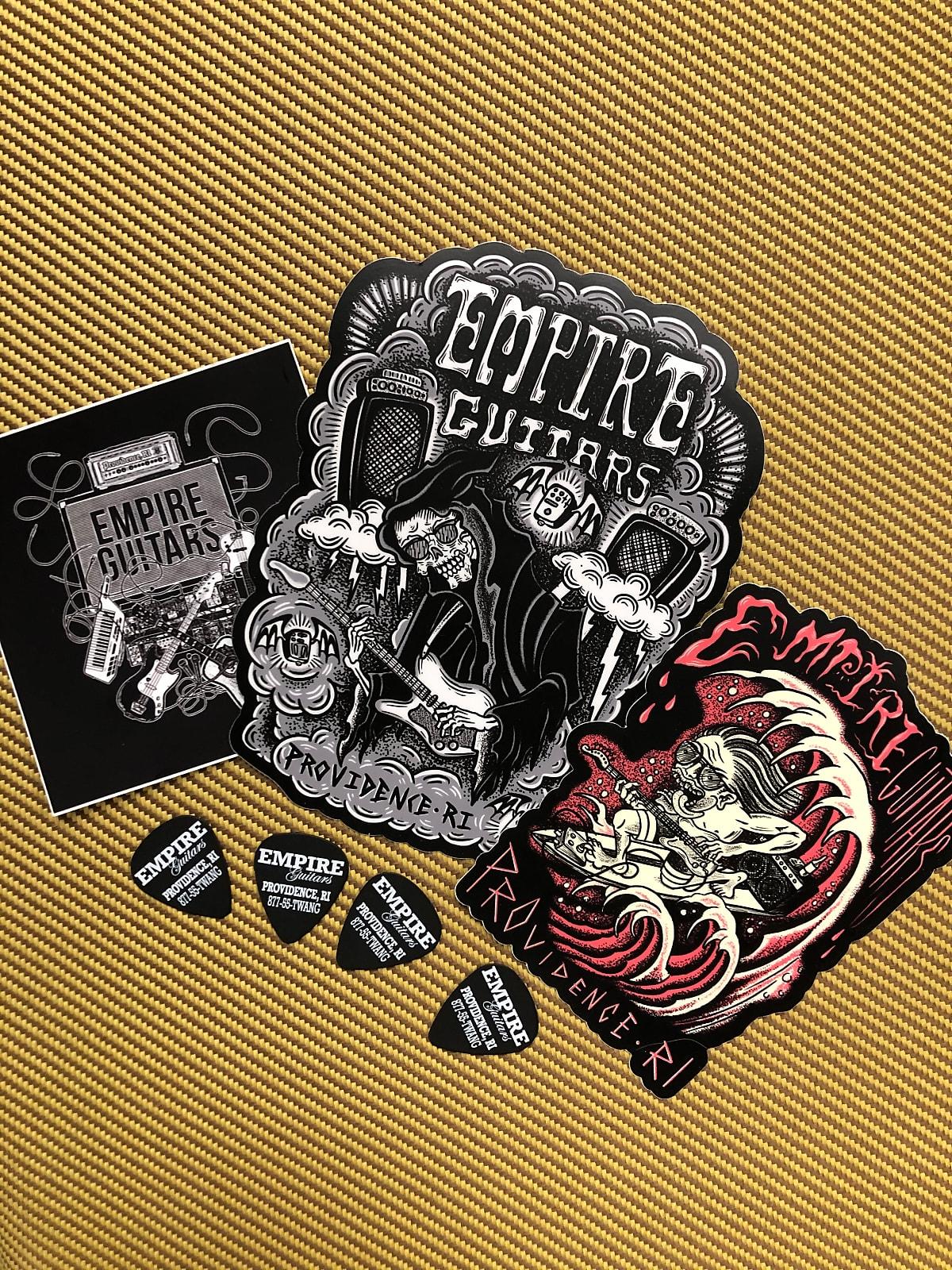 Empire Guitars Sticker Pack- 3 stickers and 4 logo picks