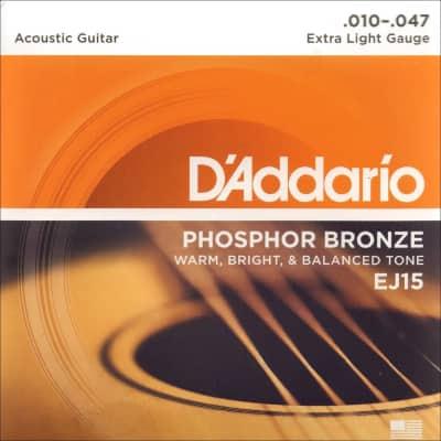 D'Addario EJ15 Phosphor Bronze Extra Light (.010-.047) Acoustic Guitar String Set