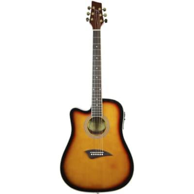 Kona K2LTSB Left Handed Thin Body Acoustic Electric Guitar, Tobacco Sunburst