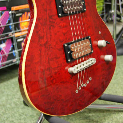 Shine electric guitar with quilted top in red - Made in Korea for sale