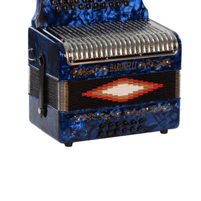 Baronelli AC3112STG-BU Full Size 31 Button Accordion w/Hard Case & Set of Back Straps - Blue