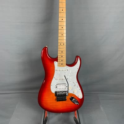 Fender  Floyd Rose Flametop Stratocaster Partscaster with Upgrades  2013 Cherry Sunburst with HSC for sale