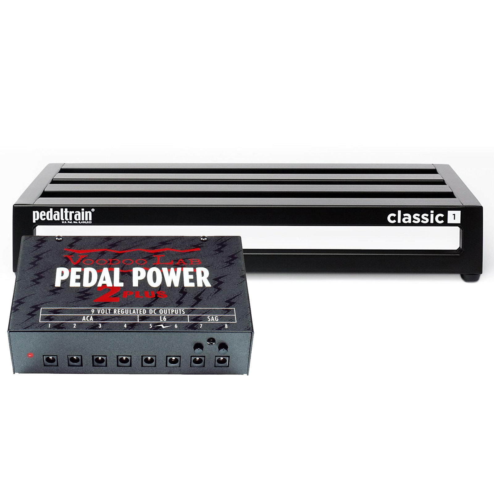 Pedaltrain Classic 1 Pedalboard w/Tour Case Bundle w/ Voodoo Lab Pedal  Power 2 PLUS Power Supply