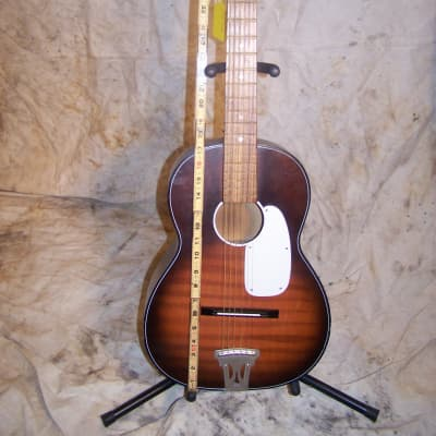 Vintage 1960s Kingston Acoustic Parlor Guitar, Tobacco Burst, MIJ. for sale