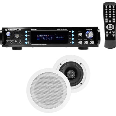 """Rockville Home Theater Bluetooth Receiver+(2) 5.25"""" White In-Ceiling Speakers"""