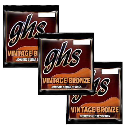 GHS Guitar Strings 3-Packs Acoustic BlueGrass 14-56 Vintage Bronze