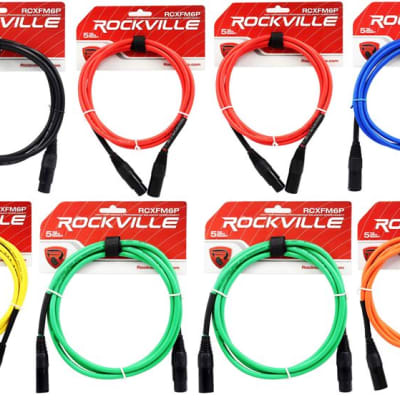 Red and Blue 2 Rockville 10/' Female to Male REAN XLR Mic Cable 100/% Copper