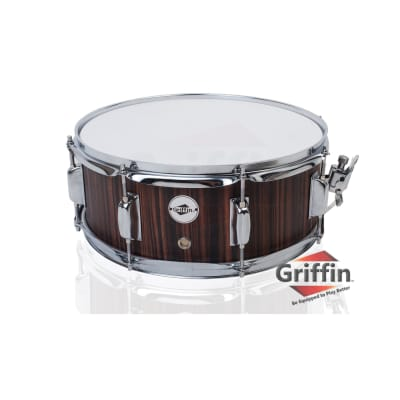 """Griffin Snare Drum – 14"""" Poplar Wood Shell Black Hickory Percussion Kit Set 5.5"""""""