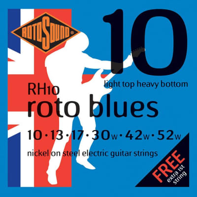 Rotosound RH10 Roto Blues Electric Guitar Strings Gauge 10-52  - Made in the UK