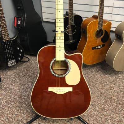 Esteban VL-100 2009 Burgundy Acoustic/Electric Guitar w/ Case for sale
