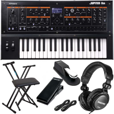 Roland Jupiter-Xm Portable Synthesizer, Keyboard Stand, Bench, Dust Cover, Sustain Pedal, Nektar NX-P, (2) 1/4 Cable, Tascam TH02 Bundle