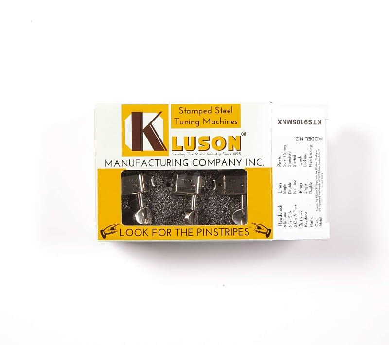 Kluson Supreme 6 Inline Oval Metal button, Staggered Safety post - Nickel  KTS9105MNX