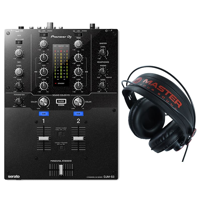Pioneer DJM-S3 Serato Mixer & Master PRO10 Headphones