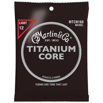 Martin MTCN160 Titanium Core Acoustic Strings, Light, Nickel