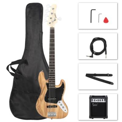 Glarry GJazz 5 String Electric Bass Guitar Full Size w/ 20W Amplifier Burlywood for sale