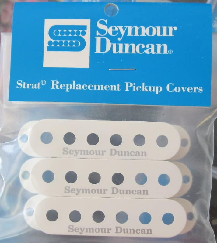 White with Logo Set of 3 Seymour Duncan Single Coil Strat Pickup Covers
