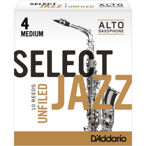 Rico RRS10ASX4M Select Jazz Alto Saxophone Reeds, Unfiled - Strength 4 Medium (10-Pack)