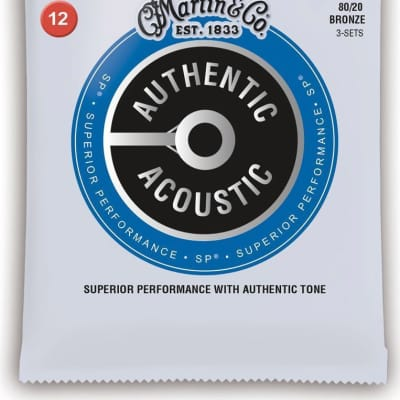 Martin MA140PK3 80/20 Bronze Authentic Acoustic SP Guitar Strings .012–.054 3 Pack
