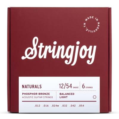 Stringjoy Naturals Light Gauge (12-54) Phosphor Bronze Acoustic Guitar Strings