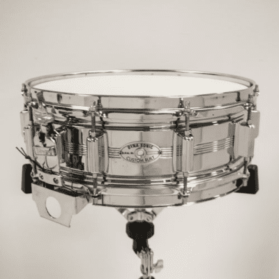 """Rogers """"5-Line"""" Dyna-Sonic 5x14"""" Chrome Over Brass Snare Drum with Script Logo 1967 - 1974"""
