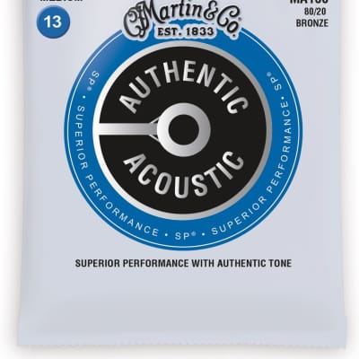 Martin MA150 Authentic Acoustic SP 80/20 Bronze Acoustic Guitar Strings - Medium (.13 - .56)