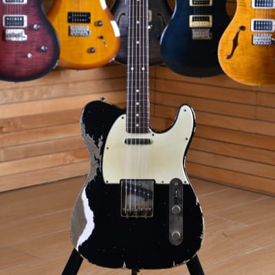 Xotic XTC-1 Black Super Heavy Aged Roasted Flame Maple Rosewood Fingerboard ( Raw Vintage TE ) for sale