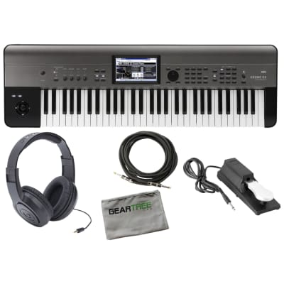 Korg KROMEEX61 Krome 61-Key Music Workstation w/ Sustain Pedal, Headphones, Cable, Cloth
