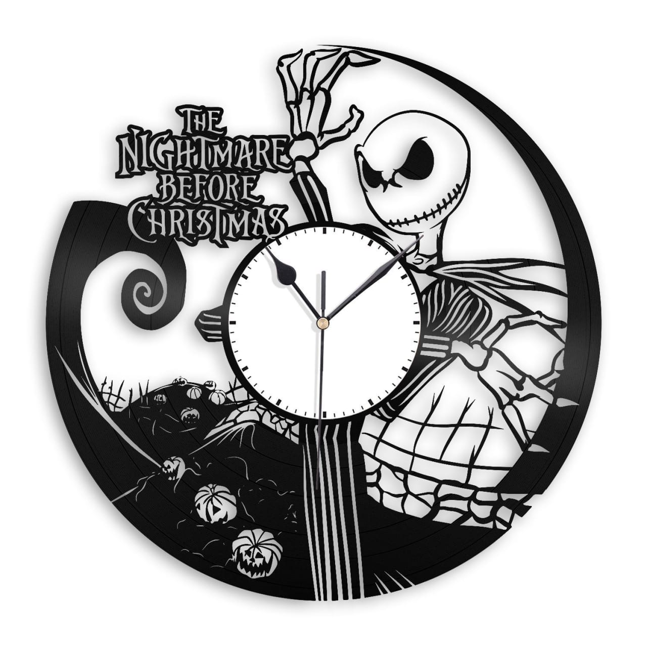 Nightmare Before Christmas Vinyl Wall Clock - White / Black | Reverb